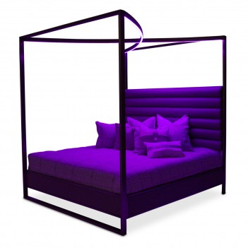 Aico Metro Lights Queen Canopy Bed Midnight