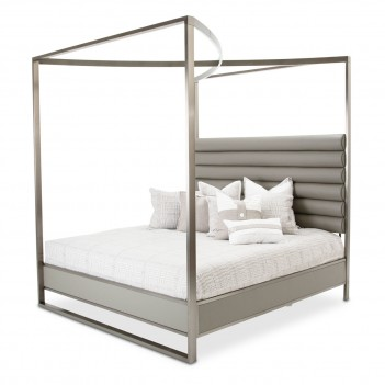 Aico Metro Lights Queen Canopy Bed Midnight