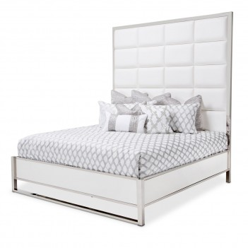 Aico State St. Eastern King Metal Panel Bed (3 Pc) Glossy White