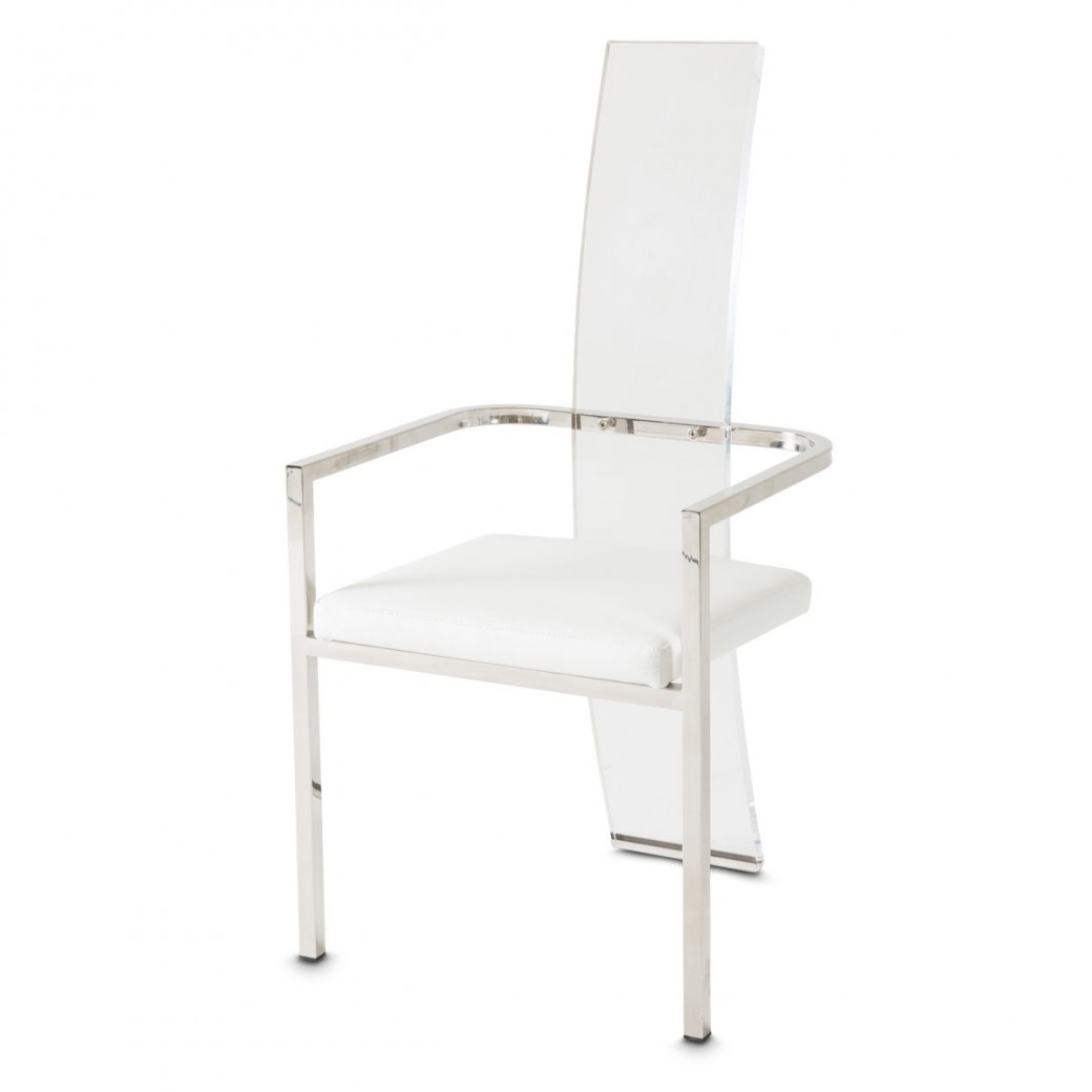 Aico State St Arm Chair Clear Acrylic Back Glossy White