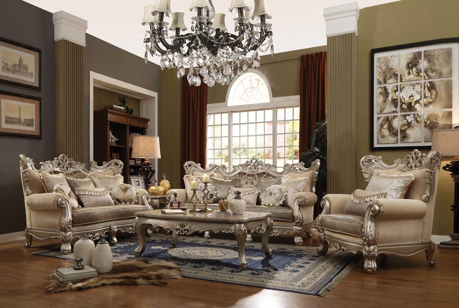 51040 Acme Ranita Collection 3 Pcs Sofa Set Fabric / Champagne