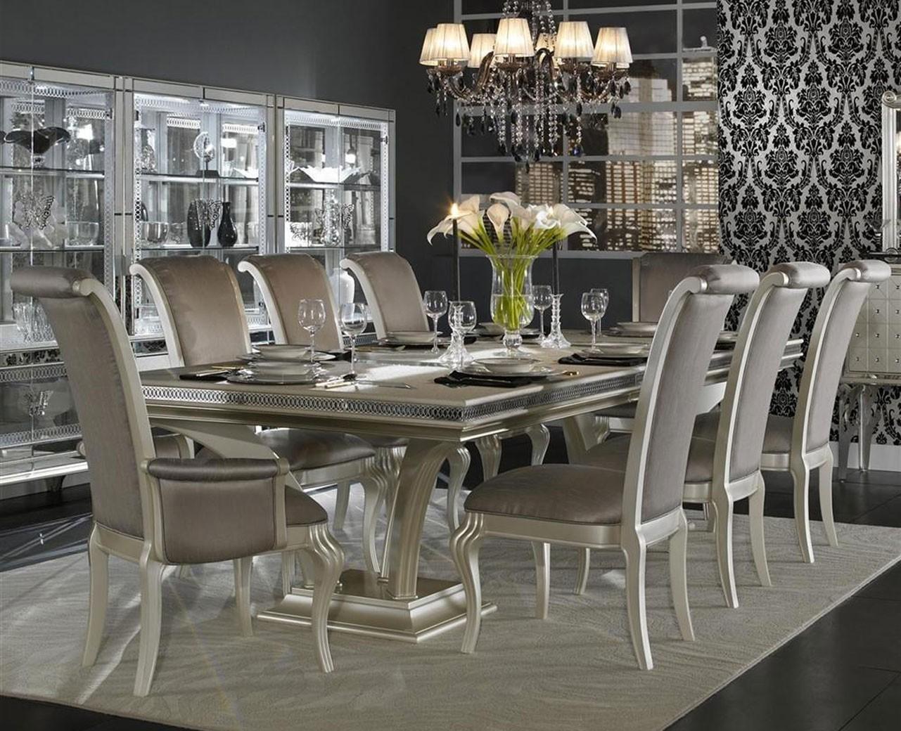 Aico Pearl Caviar Leg Dining Table Hollywood Swank