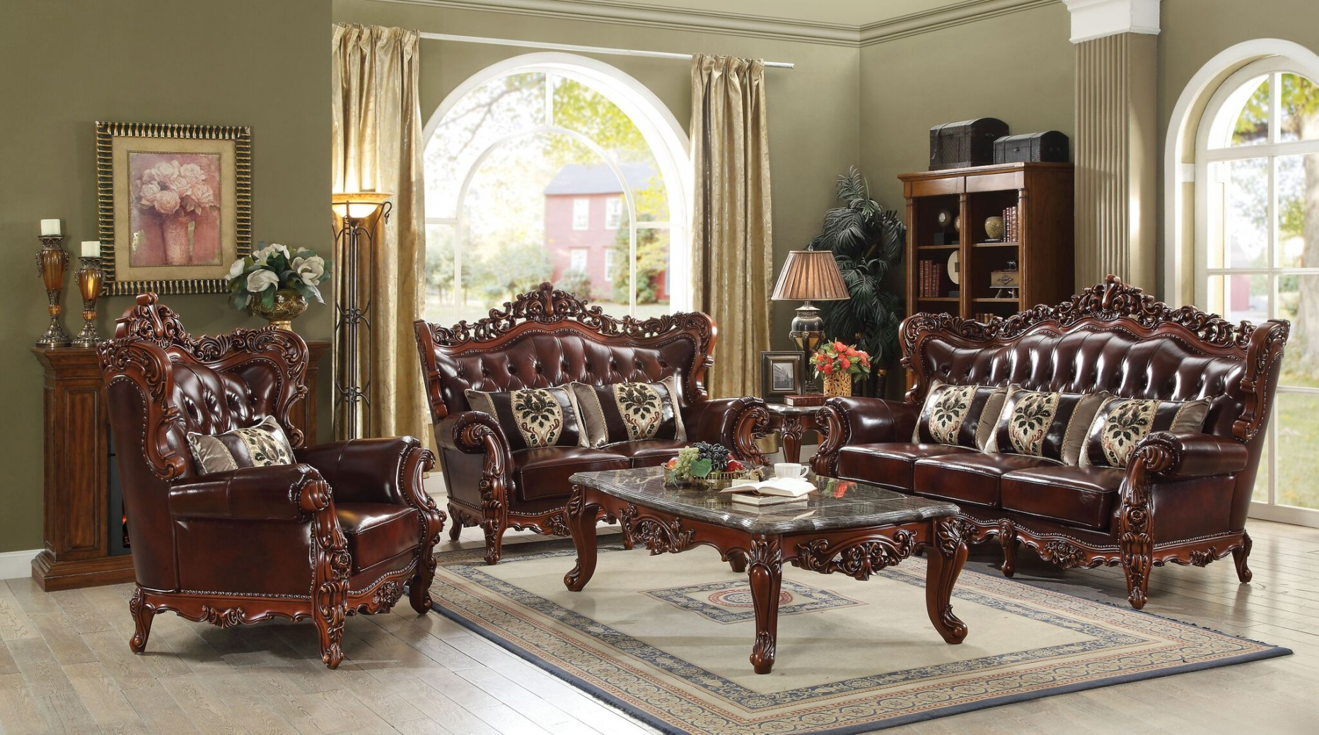 53065 Acme Eustoma Collection Cherry Top Grain Leather/Walnut