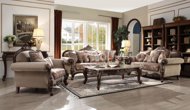 50690 fabric walnut finish living room acme mehadi - Walnut and black gloss living room furniture ...
