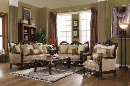 50685 Devayne Sofa Collection by Acme Fabric/ Dark Brown Finish