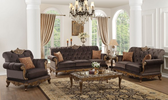 53795 Orianne Collection by Acme Charcoal Fabric Antique Gold