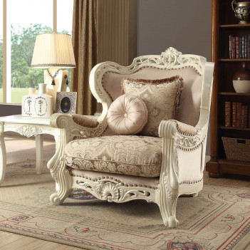 HD 2657 Homey Design Traditional Wood Finish Upholstered Accent