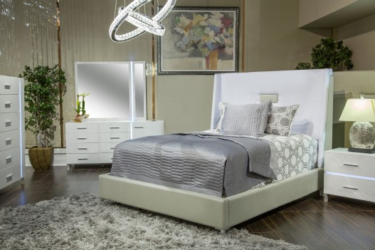 Aico by Michael Amini Lumiere Collection Upholstered Panel Bed