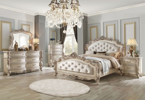 27440 Gorsedd Cream Fabric Antique white finish Bedroom Set