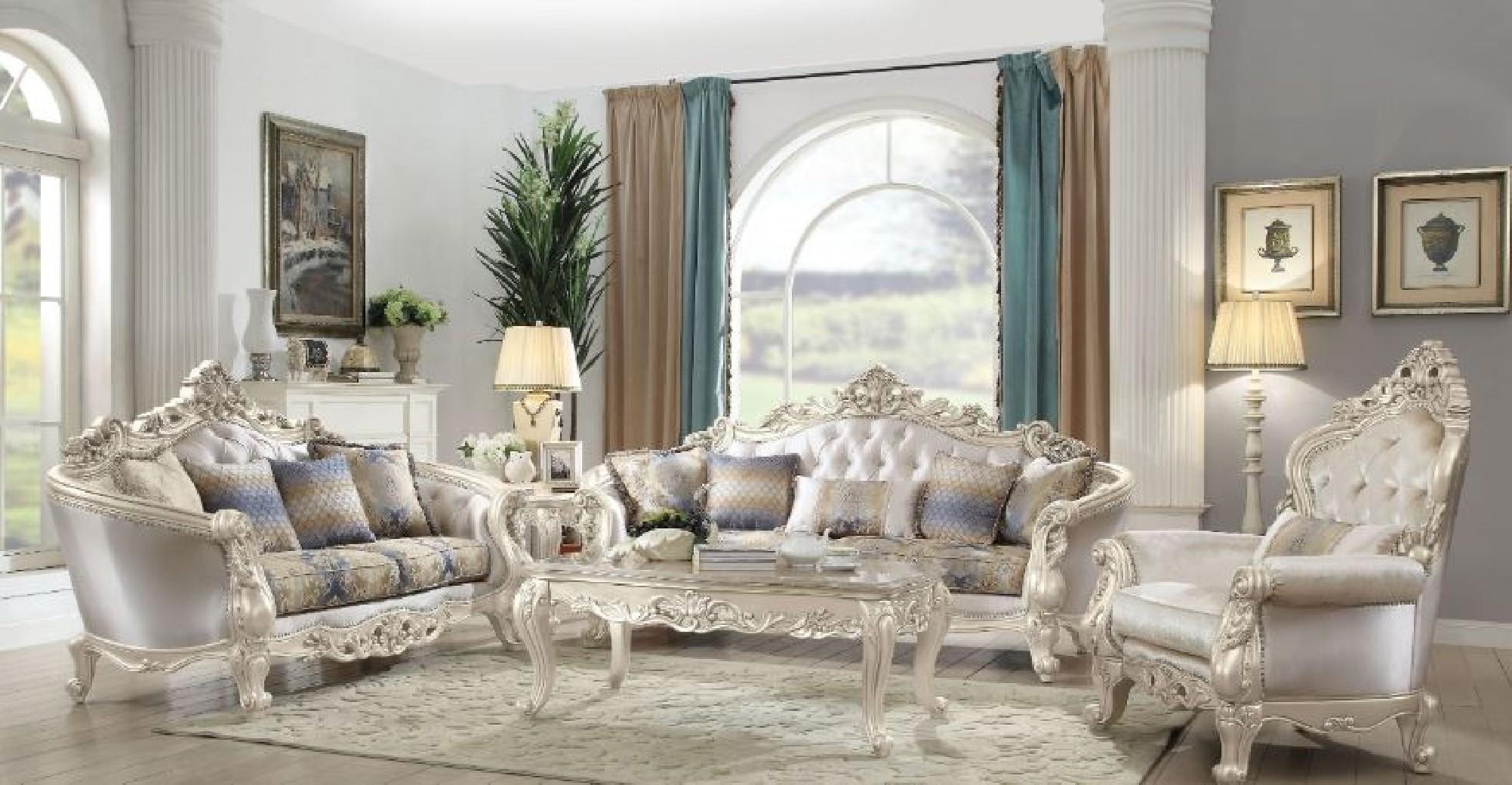 Cream Fabric Living Room Acme Gorsedd