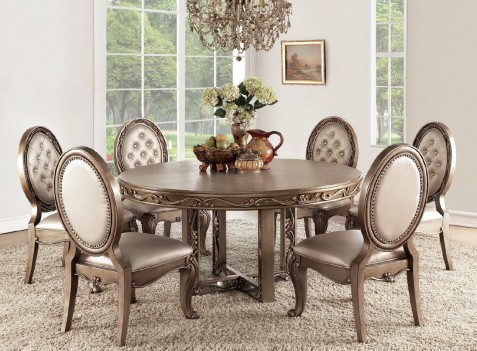 63785 Champagne PU/ Antique Gold Finish Round Dining Acme Orianne Collection