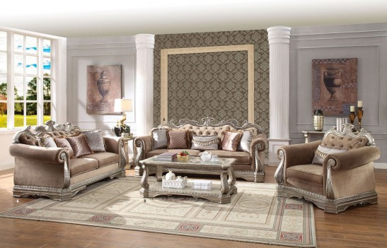 56930 PU/ Antique Champagne Finish Living Room Acme Northville Collection