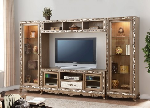 91430 Antique Gold Finish Entertainment Center Acme Orianne Collection