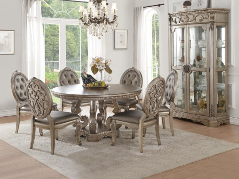 66915 Antique Champagne Finish Dining set Round Table Acme Northville Collection
