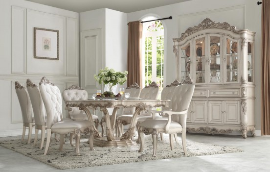 67440 Antique White Finish Dining Room Acme Gorsedd Collection