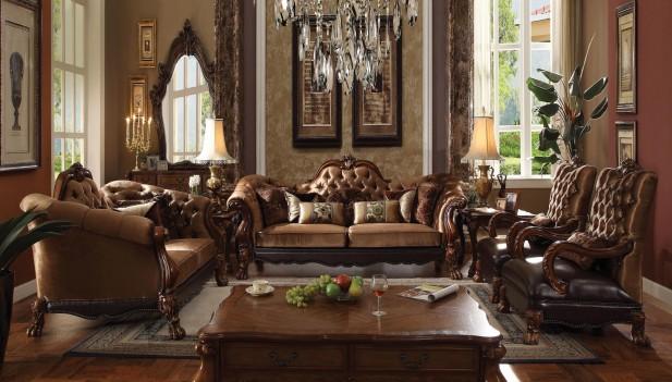 52095 Golden Brown Velvet / Cherry Oak Finish Living Room Dresden Collection by Acme Furniture