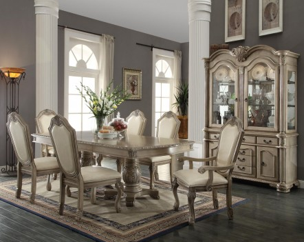 64065 Antique White Finish Dining Set Double Pedestal Table Chateau De Ville by Acme