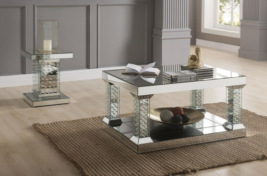 80285 Mirrored Faux Crystals Ocassional Tables Acme Nysa Collection