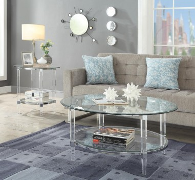 80945 Clear Acrylic Chrome & Clear Glass Ocassional Tables Acme Polyanthus Collection