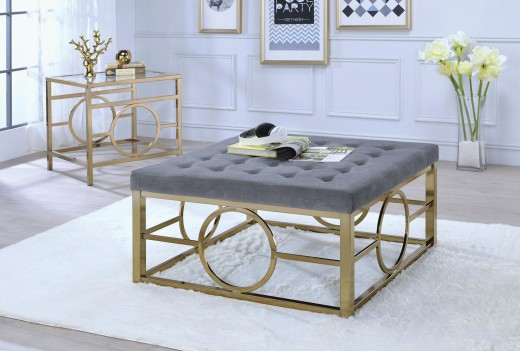 82050 Grey Fabric / Gold Ocassional Tables Acme Jaxson Collection