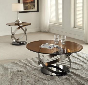 80925 Satin Black Finish Smoky Glass Ocassional Tables Acme Olly Collection
