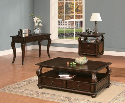 80010 Walnut Finish Ocasional Tables Acme Amado Collection
