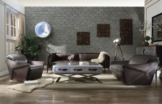 52475 Distress Espresso Top Grain Leather / Aluminum Sofa set Acme Winchester Collection