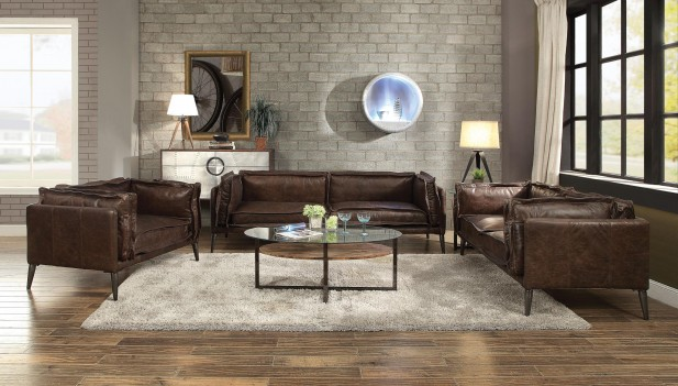 52480/81 Distress Chocolate Top Grain Leather Sofa Set Acme Porchester Collection