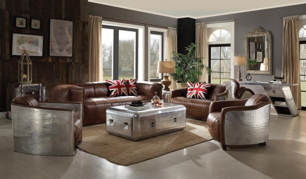 53545 Retro Brown Tops Grain Leather Sofa set Acme Brancaster Collection