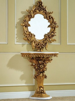 212 ABM Luxury Marble Top Console Table & Mirror - French Provincial Style By Polrey International Furnishing