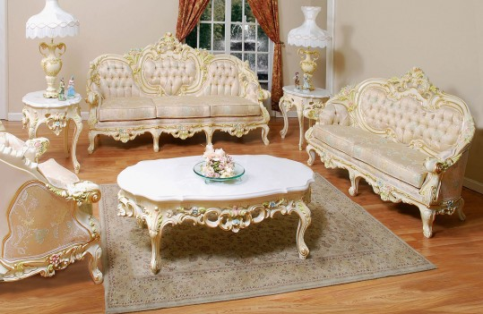 638 AJ Floral Fabric Polrey French Provincial Style Living Room Set