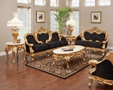 638 AJ Solid Velvet Polrey French Provincial Style Living Room