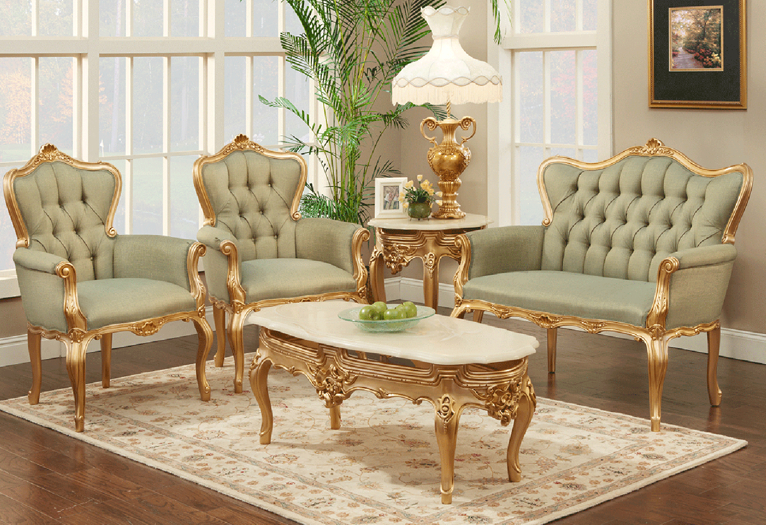 770 BJ Solid Velvet Polrey French Provincial Style Living Room Set
