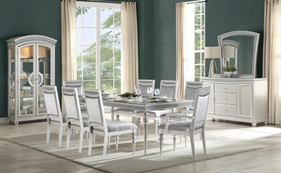 61800 Platinum Finish Dining Set Acme Maverick Collection