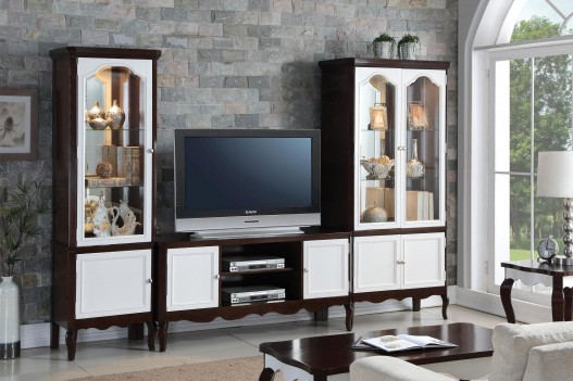 91232 White & Walnut Finish Entertainment center Acme Mathias Collection