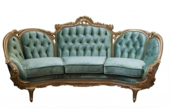 644 AJ Solid Velvet Polrey French Provincial Style Living Room Set