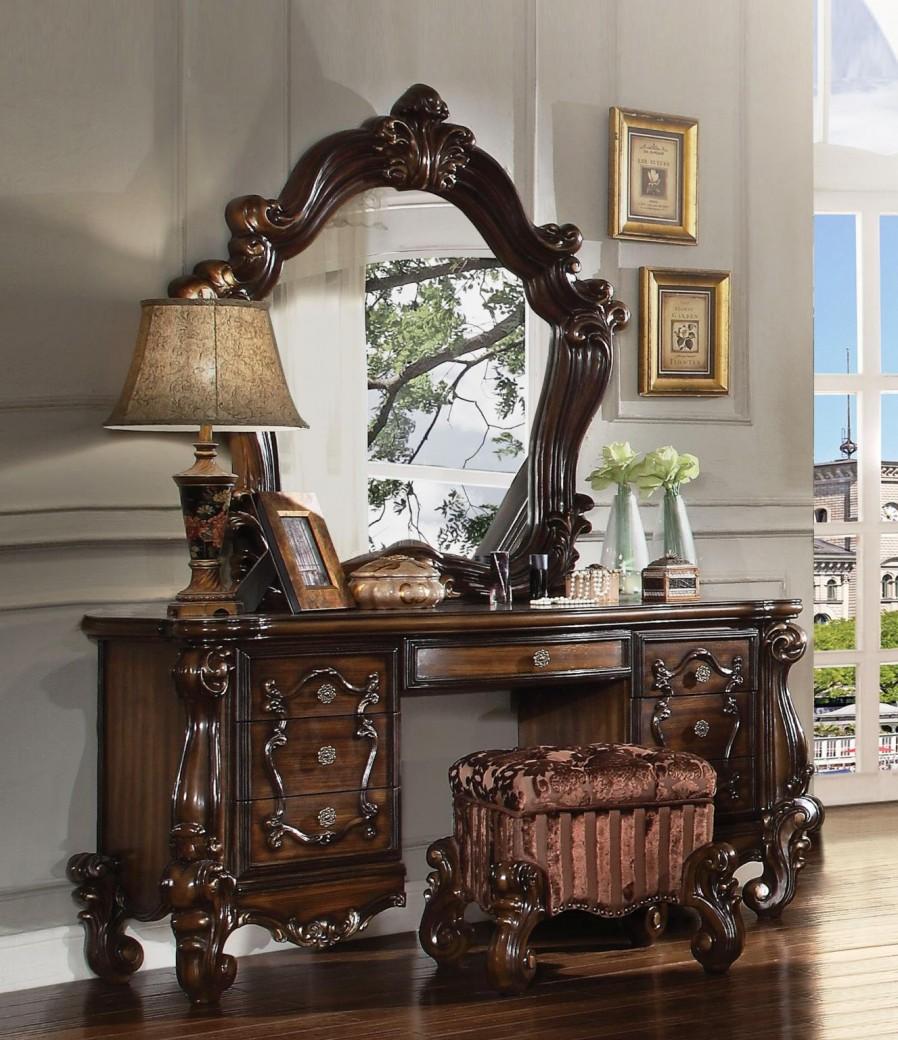 Acme 21107 Versailles 3pcs Cherry Oak Vanity Set With Stool Mirror