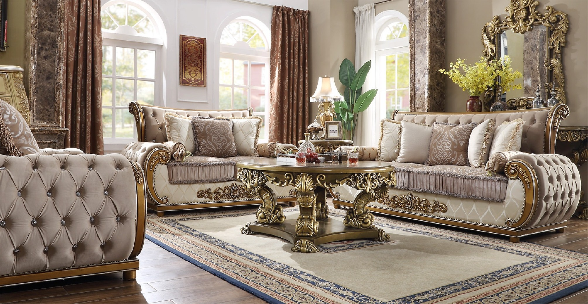 HD 25 Homey Design Upholstery Living Room Set Victorian ...