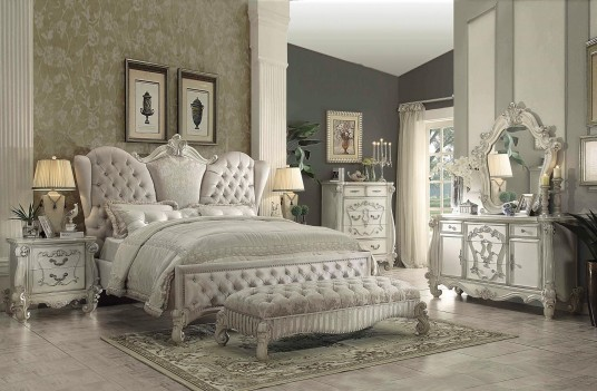 21130Q Bedroom Versailles Collection Ivory Velvet Bone white Finish By Acme Furniture