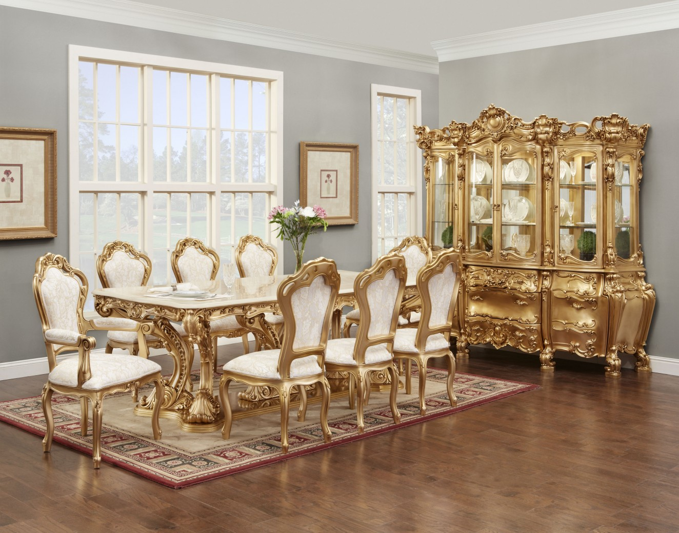 701am Marble Top Dining Table Classic, White French Provincial Dining Room Set