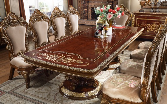 HD 1803 Homey Design Long Dining Table Victorian Style Burl & Metallic Antique Gold