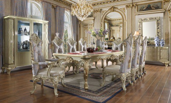 HD 8092 Homey Design Dining Set Victorian Style Satin Gold Finish