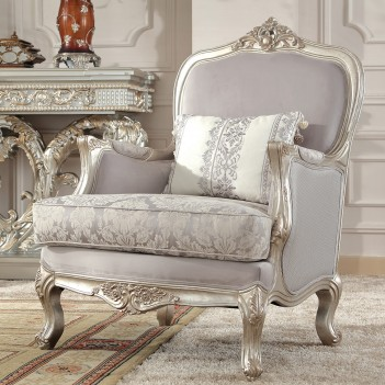 HD 2662 Homey Design Accent Chair Metallic Silver Finish