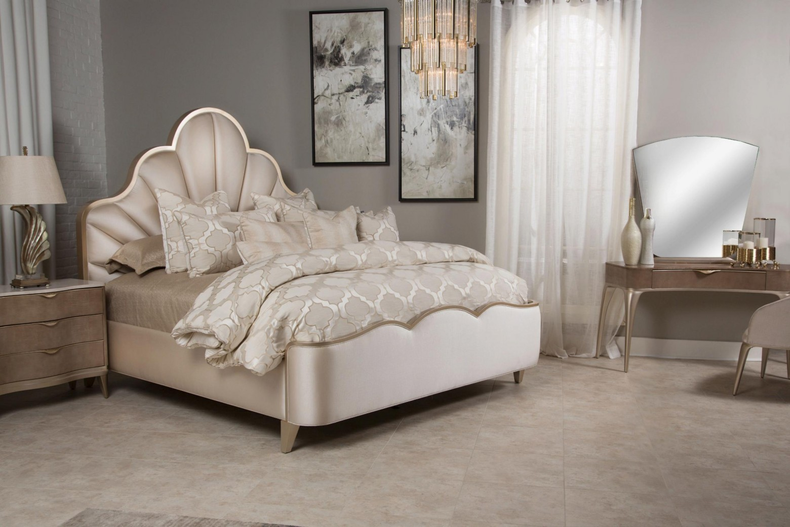 Malibu Crest Bedroom Set With Scalloped Bed By Michael Amini