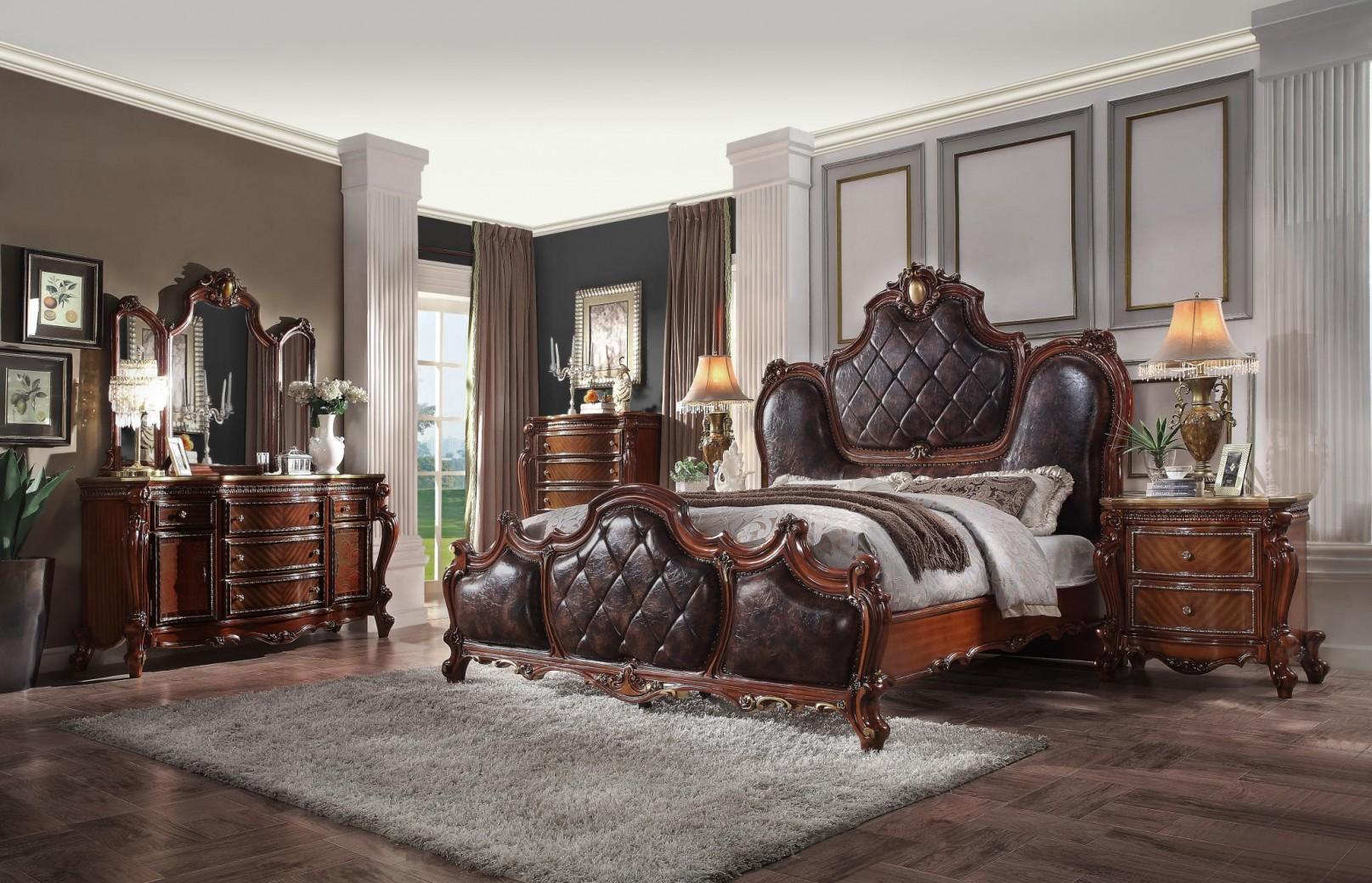 28240q Pu Cherry Oak Finish Bed Picardy Collection By Acme Furniture