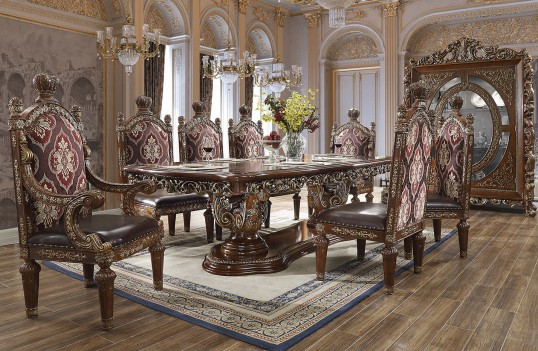 HD 1804 Homey Design Long Dining Table Victorian Style Burl & Metallic Antique Gold