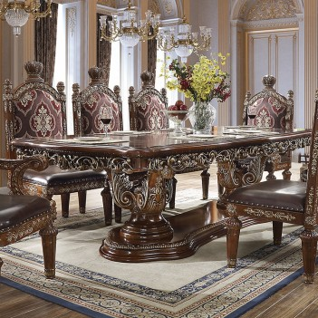 Hd 1804 Homey Design Long Dining Table Victorian Style Burl Metallic Antique Gold