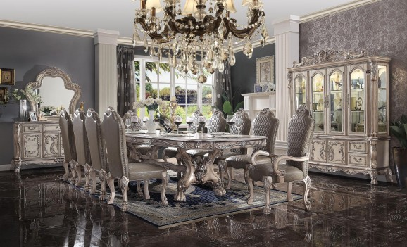 68170 Vintage Bone White Finish Dining Set Rectangular Table Dresden Collection by Acme Furniture