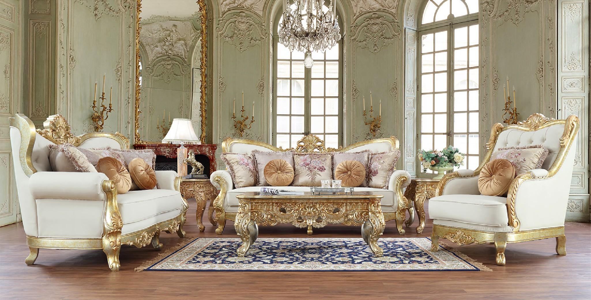 Hd 93630 Homey Design Living Room Set, Victorian Living Room Set