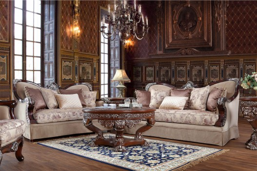 HD 91862  Homey Design Upholstery Living Room Set Victorian, European & Classic Design Sofa Set